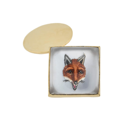 Retro 14kt Painted Reverse Carved Rock Crystal Fox Cufflinks