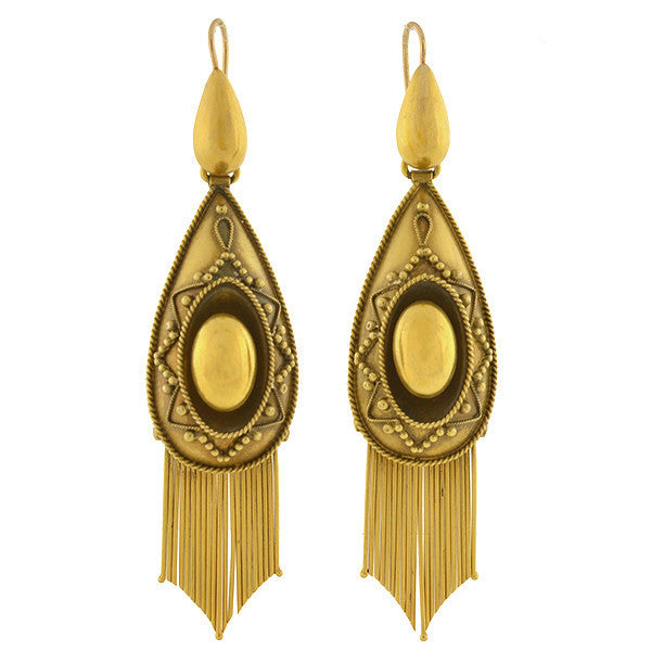 Victorian Large 18kt Etruscan Foxtail Fringe Earrings