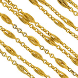Late Victorian Long 18kt Gold Link Chain Necklace 60