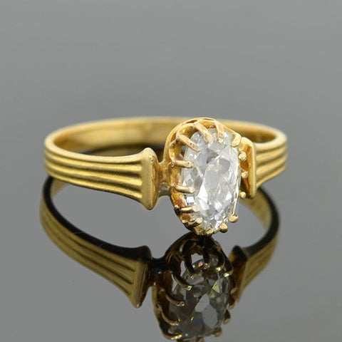 Victorian French 18kt Oval Mine Cut Diamond Ring .80ct