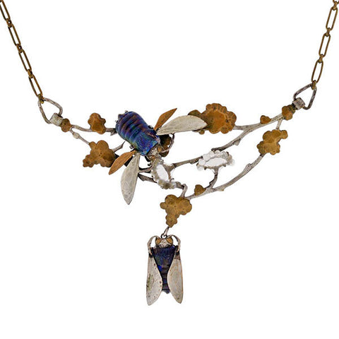 Art Nouveau French Brass, Silver & Art Glass Insect Necklace