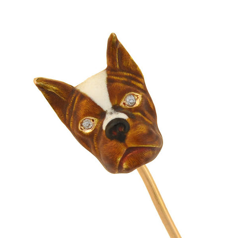 Late Art Deco 14kt Diamond + Enamel French Bulldog Stick Pin