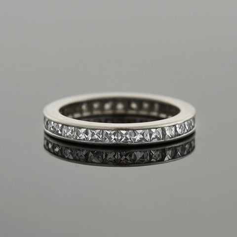 Art Deco Platinum French Cut Diamond Eternity Band 0.90ctw