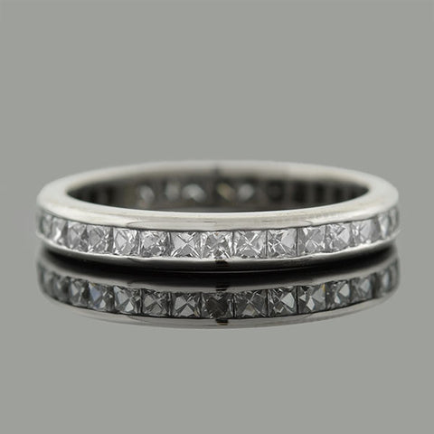 Art Deco Platinum French Cut Diamond Eternity Band 1ctw