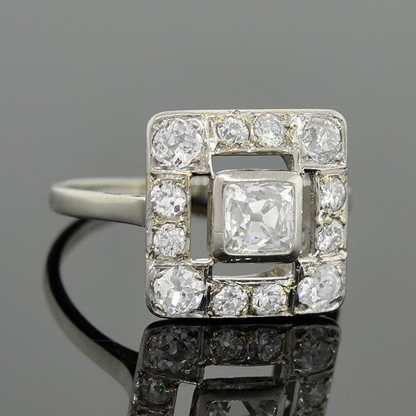 Edwardian 14kt French Cut Diamond Square Ring 1.55ctw