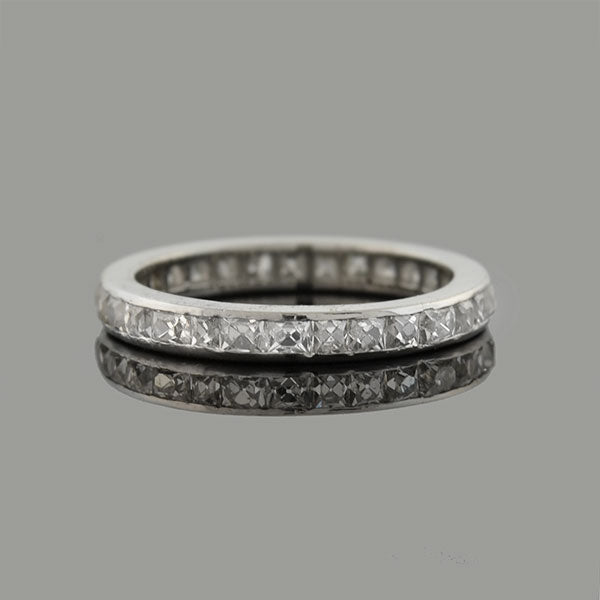 Art Deco Platinum French Cut Diamond Eternity Band 1.70ctw