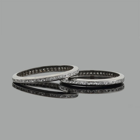 Art Deco Platinum French Cut Diamond Eternity Band Set