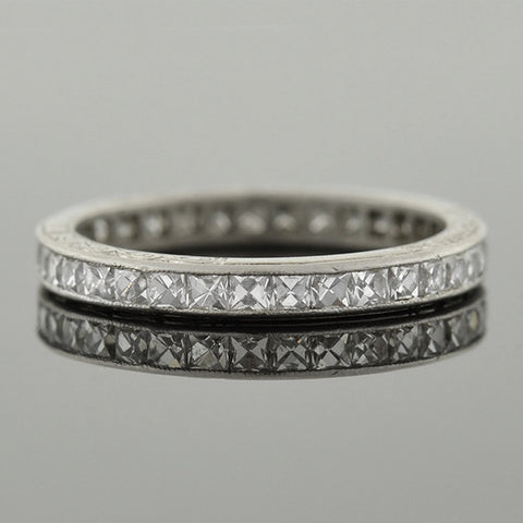 Art Deco Platinum French Cut Diamond Eternity Band 1.75ctw