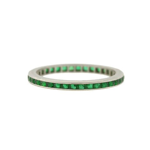 Art Deco Platinum French Cut Emerald Eternity Band