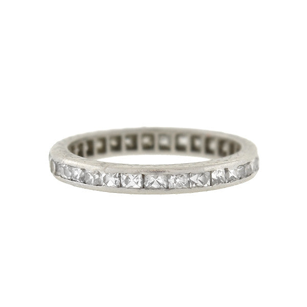 Art Deco Platinum French Cut Diamond Eternity Band .90ctw
