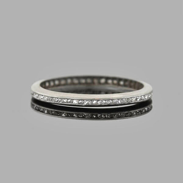 Edwardian Platinum French Cut Diamond Eternity Band .50ctw
