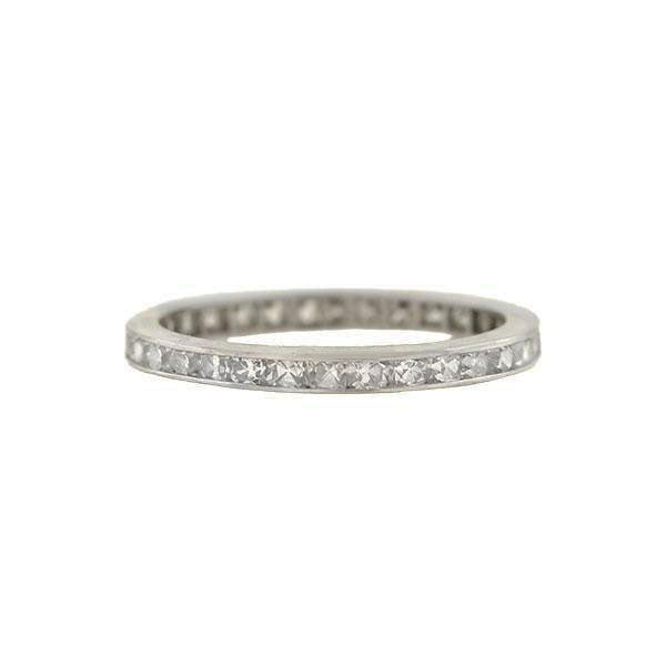 Late Art Deco Platinum French Cut Diamond Eternity Band 0.95ctw
