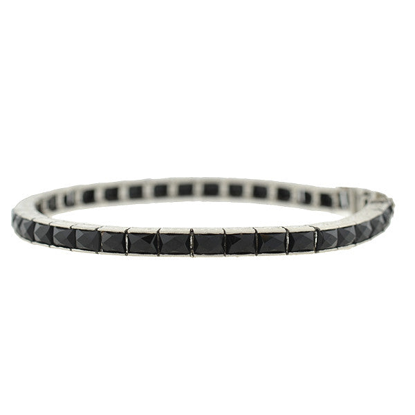 Art Deco Platinum & French Cut Onyx Line Bracelet
