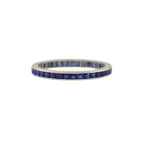 Art Deco Platinum French Cut Sapphire Eternity Band