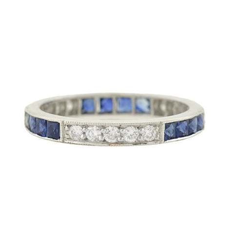 Art Deco Platinum Diamond & French Cut Sapphire Eternity Band