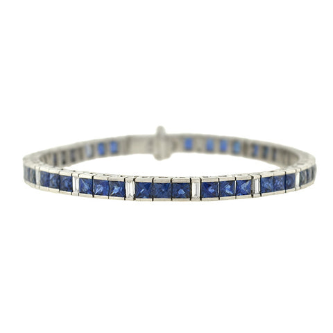 Retro 18kt French Cut Sapphire & Diamond Line Bracelet 10+ctw
