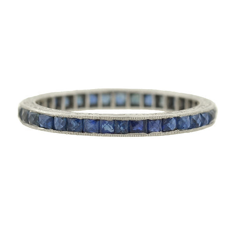Art Deco Platinum French Cut Sapphire Band
