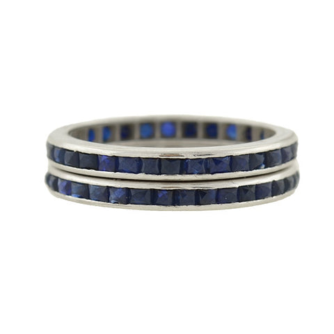 Art Deco 14kt French Cut Sapphire Eternity Bands Set
