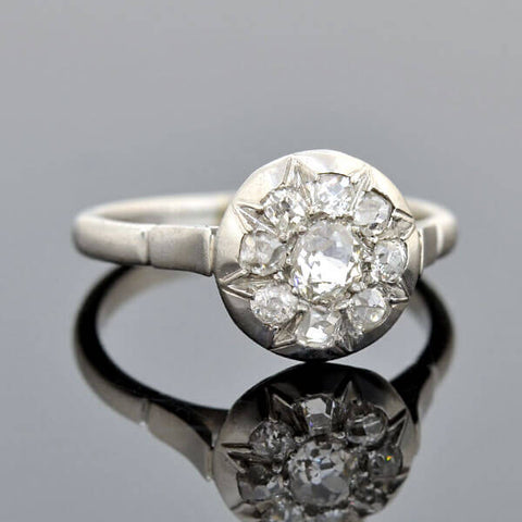 Late Victorian French Platinum Diamond Starburst Motif Ring