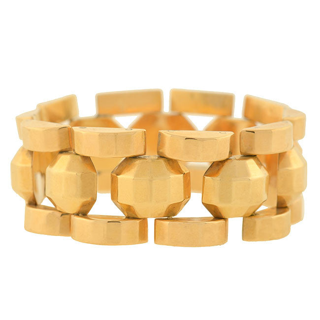 Retro French 18kt Gold Faceted Link Bracelet