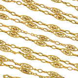 Art Nouveau French 18kt Fancy Filigree Link Chain 60