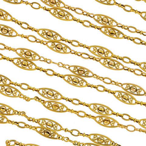Art Nouveau French 18kt Fancy Filigree Link Chain 60""