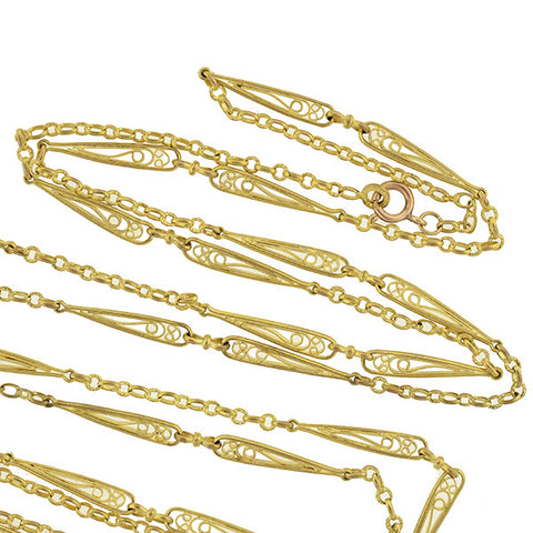 Late Victorian French Gold-Filled Filigree Link Chain 60""