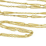 Late Victorian French Gold-Filled Filigree Link Chain 60