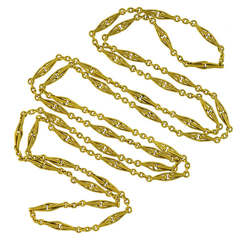 Late Victorian French 18kt Yellow Gold Link Chain Necklace 52""