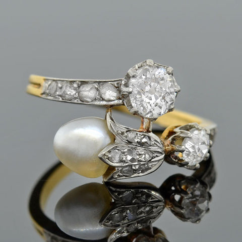Victorian French 18kt Diamond & Pearl Acorn Bypass Ring