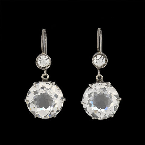 Art Deco Sterling French Paste Dangling Crystal Earrings