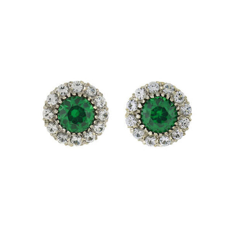 Late Art Deco 14kt Synthetic Emerald French Paste Cluster Earrings