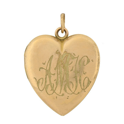 W&H CO. Victorian Gold-Filled & French Paste Heart Locket