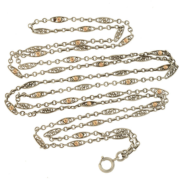 Edwardian French Sterling + 9kt Gold Filigree Chain Necklace 54""