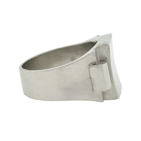 Art Deco French Sterling Silver Rectangular Signet Ring