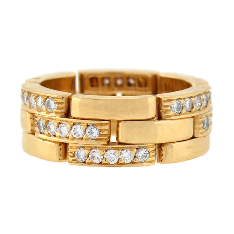 CARTIER Paris Estate 18kt Hinged Diamond Link Band Ring