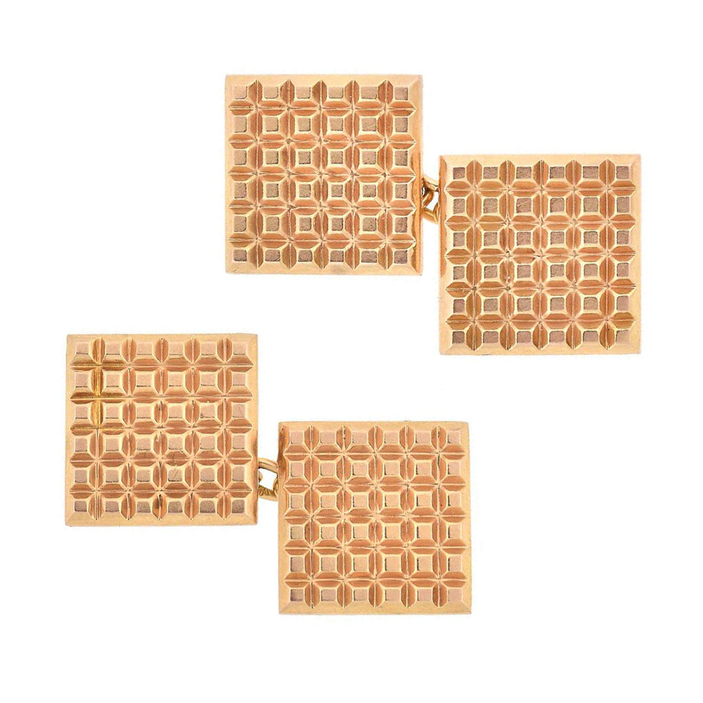Vintage French 18kt Gold Geometric Checkerboard Cufflinks