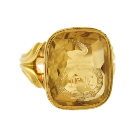"Victorian French 18kt Citrine ""Firm of Purpose"" Intaglio Signet Ring"