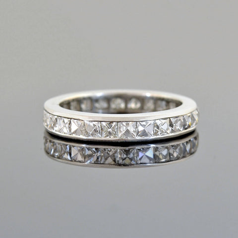Late Art Deco Platinum French Cut Diamond Eternity Band 4.00ctw