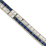 Art Deco Platinum French Cut Diamond & Sapphire Line Bracelet