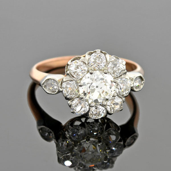 Edwardian French 18kt/Platinum Diamond Cluster Ring 1.90ctw