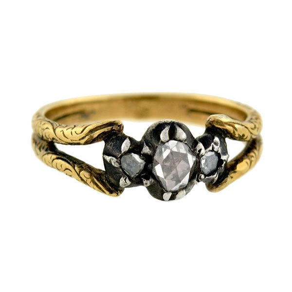 Georgian French 18kt/Silver Rose Cut Diamond Ring