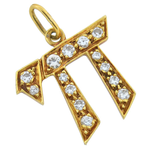 "Retro French 18kt Diamond Lined Hebrew ""Chai"" Symbol Pendant 0.25ctw"