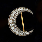 Victorian French 18kt/Platinum Diamond Crescent Pin & Pendant 1.50ctw
