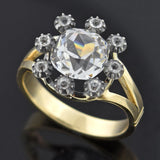 Victorian 14kt/Sterling French Paste Cluster Conversion Ring