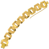 Retro French 18kt French Cut Ruby Tire Track Link Bracelet 8ctw