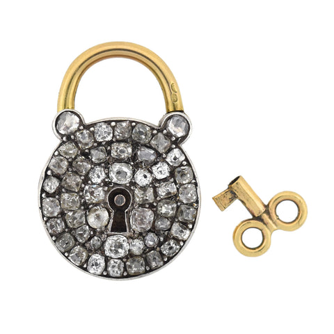 Early Victorian French 18kt/Sterling Diamond Padlock + Key Pendant 2.00ctw+