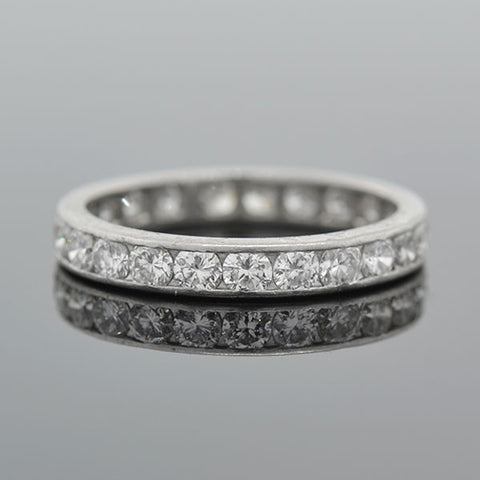 Art Deco Platinum & Full Cut Diamond Eternity Band 1ctw