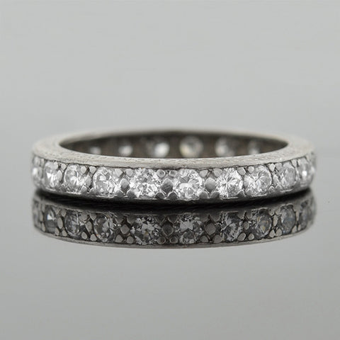 Art Deco Platinum Full Cut Diamond Eternity Band 1.15ctw