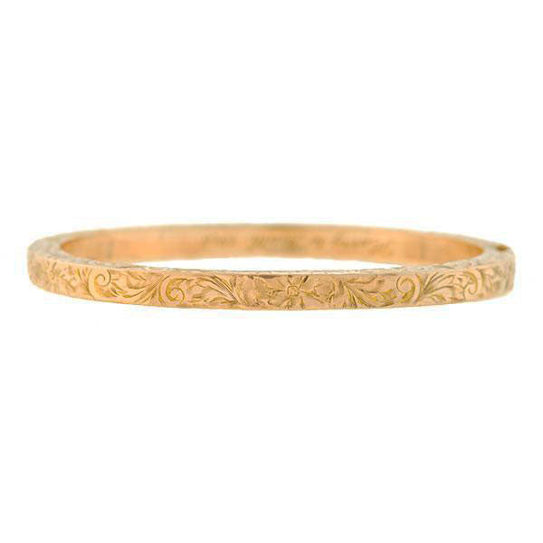 Art Nouveau 10kt Etched Floral Motif Bangle Bracelet